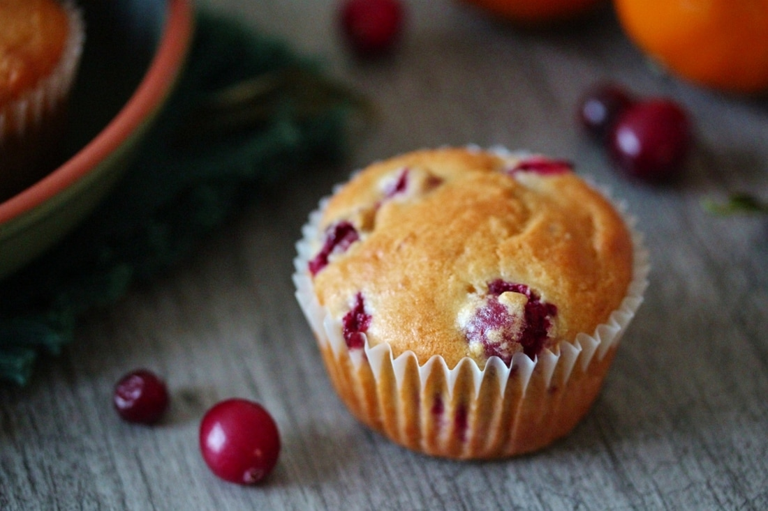 A Zesty Cranberry Orange Muffin ready to eat.