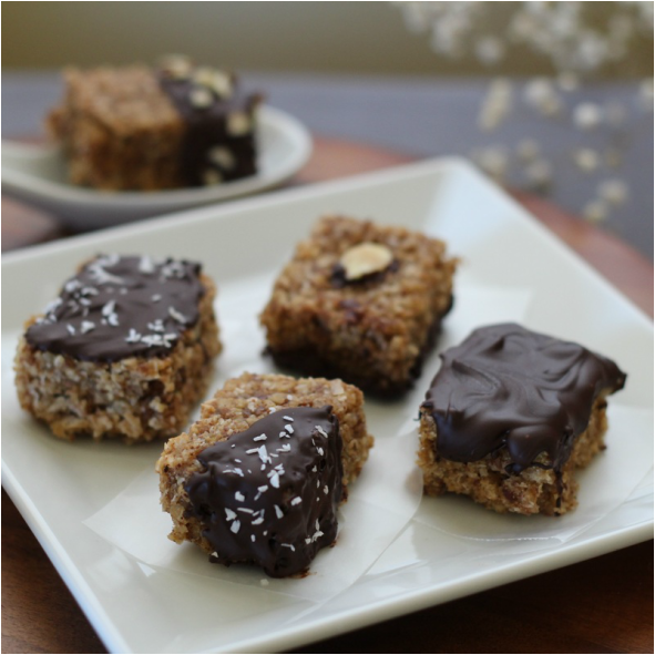 Chocolate-Dipped Granola Bites